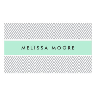 Chic gray chevrons mint green professional profile business card template