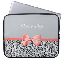 Chic Gray Jaguar Print With Coral Bow and Name Laptop Sleeve