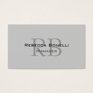 Chic Gray Monogram Manager Business Card