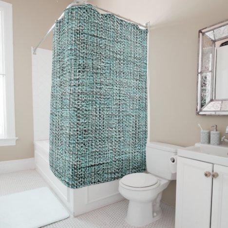 Chic Gray Seafoam Blue Green Boucle Jute Pattern Shower Curtain