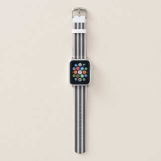 Chic Gray Striped Apple Watch Leather Band