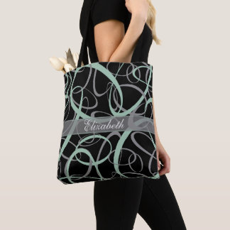 Chic grayed jade and gray on black retro pattern tote bag