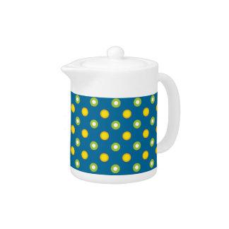 Chic Green and Yellow Polka Dots China Teapot