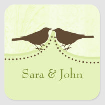 Chic green bird cage, love birds envelope seal