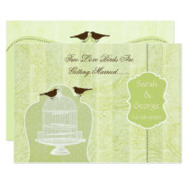 Chic green bird cage, love birds invites