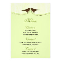 Chic green bird cage, love birds Menu Cards