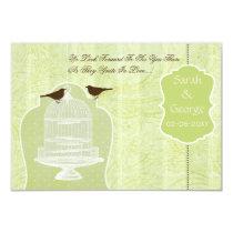 Chic green bird cage, love birds RSVP 3.5 x 5 Card