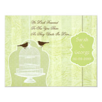 Chic green bird cage, love birds RSVP Card