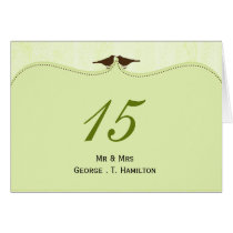 Chic green bird cage, love birds table numbers card