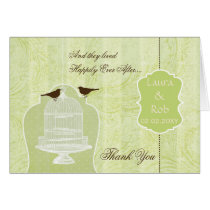 Chic green bird cage, love birds Thank You Card