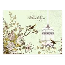 Chic green bird cage, love birds Thank You Postcard