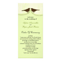 Chic green bird cage, love birds wedding programs
