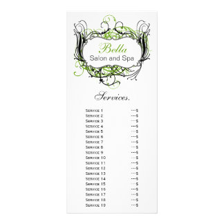 chic green, black and white Services rack card