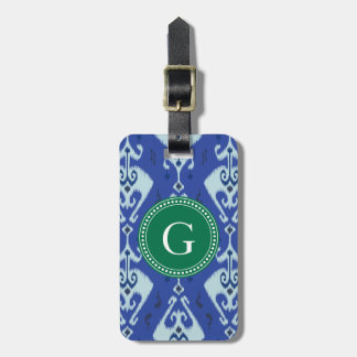 Chic green blue ikat tribal pattern monogram tags for luggage