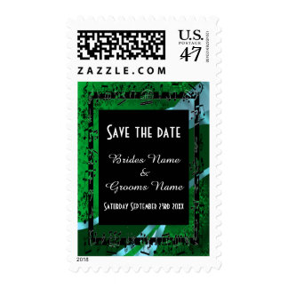 Chic green damask and black save the date postage