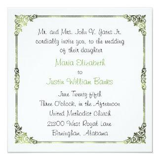 Chic Green Frame Square Wedding Invitation