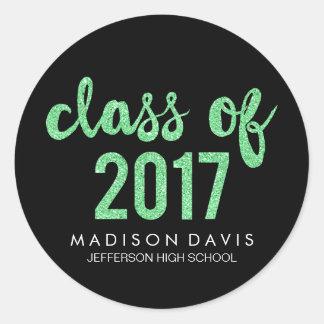 Chic Green Glitter   Class of 2017 Graduation Classic Round Sticker