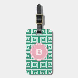 Chic green greek key geometric patterns monogram tag for luggage