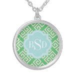 Chic green greek key geometric patterns monogram round pendant necklace