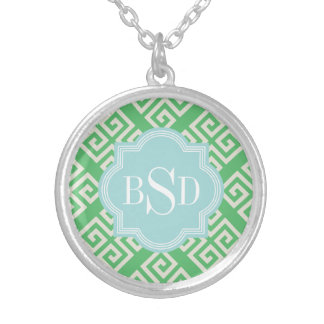 Chic green greek key geometric patterns monogram silver plated necklace