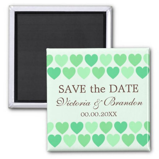 Chic green hearts wedding Save the Date magnet