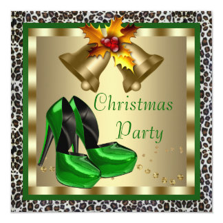 Chic Green High Heel Shoes Christmas Party Card