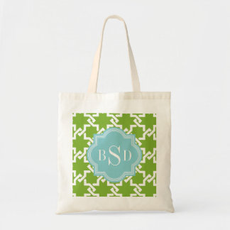 Chic green interlocking pattern monogram budget tote bag