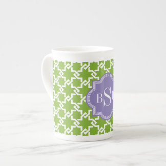 Chic green interlocking pattern monogram tea cup