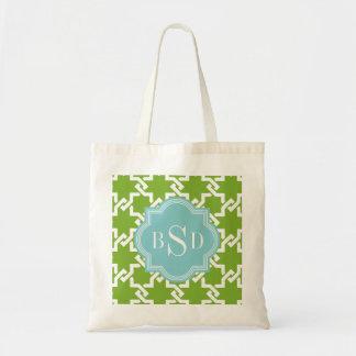 Chic green interlocking pattern monogram tote bags