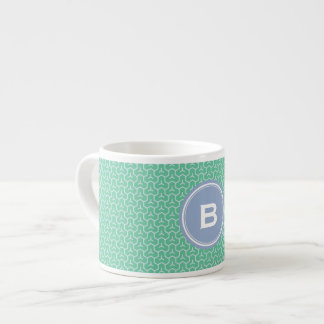 Chic green interlocking triangle pattern monogram espresso cup