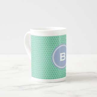 Chic green interlocking triangle pattern monogram tea cup