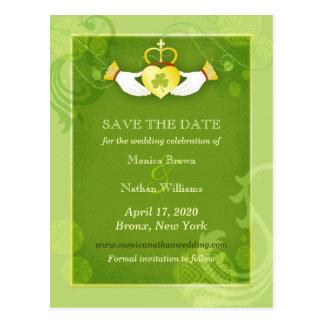 Chic Green Irish Wedding Save the Date Postcards
