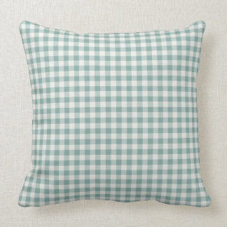 Chic Green Mint White Gingham Stripes Throw Pillow