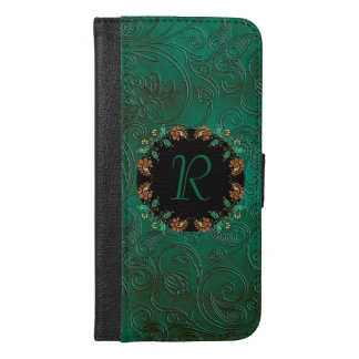 Chic Green Monogram iPhone 6 Plus Wallet Case