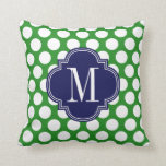 Chic Green & Navy Big Dots Monogrammed Pillows