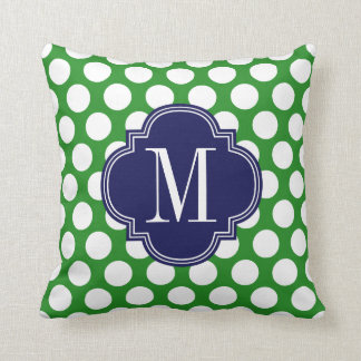 Chic Green & Navy Big Dots Monogrammed Throw Pillow