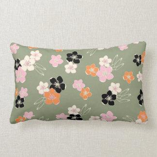 Chic green orange black hawaiian exotic flowers throw pillow