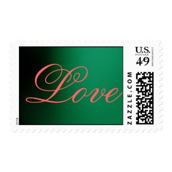 Chic Green Pink Calligraphy Love Wedding Postage