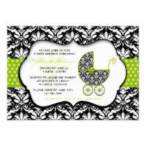 "Chic Green Polka Dot Damask Baby Shower Invite 5"" X 7"" Invitation Card"
