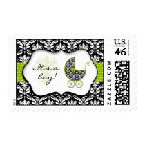 Chic Green Polka Dot Damask Baby Shower Stamps
