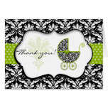 Chic Green Polka Dot Damask Baby Shower Thank You Stationery Note Card