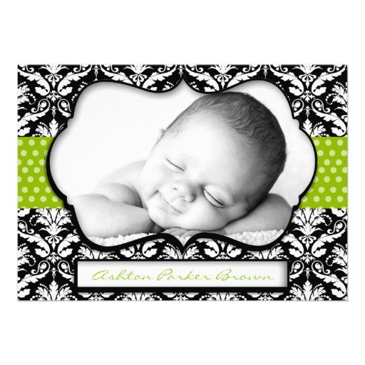 Chic Green Polka Dot Damask Birth Announcement
