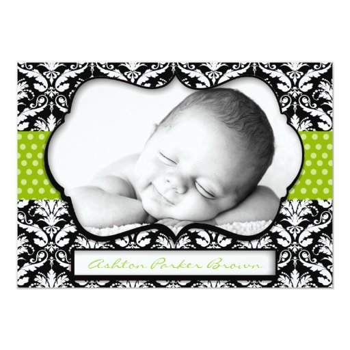 Chic Green Polka Dot Damask Birth Announcement