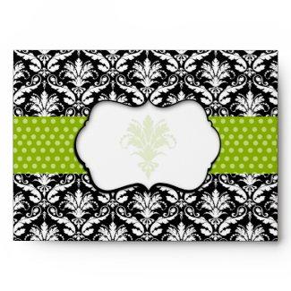 Chic Green Polka Dot Damask Envelope