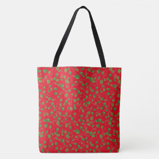 Chic Green Poppy Seedpods on Red to Customize Tote Bag
