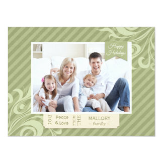"Chic Green Stripe Christmas Flat Card 6.5"" X 8.75"" Invitation Card"