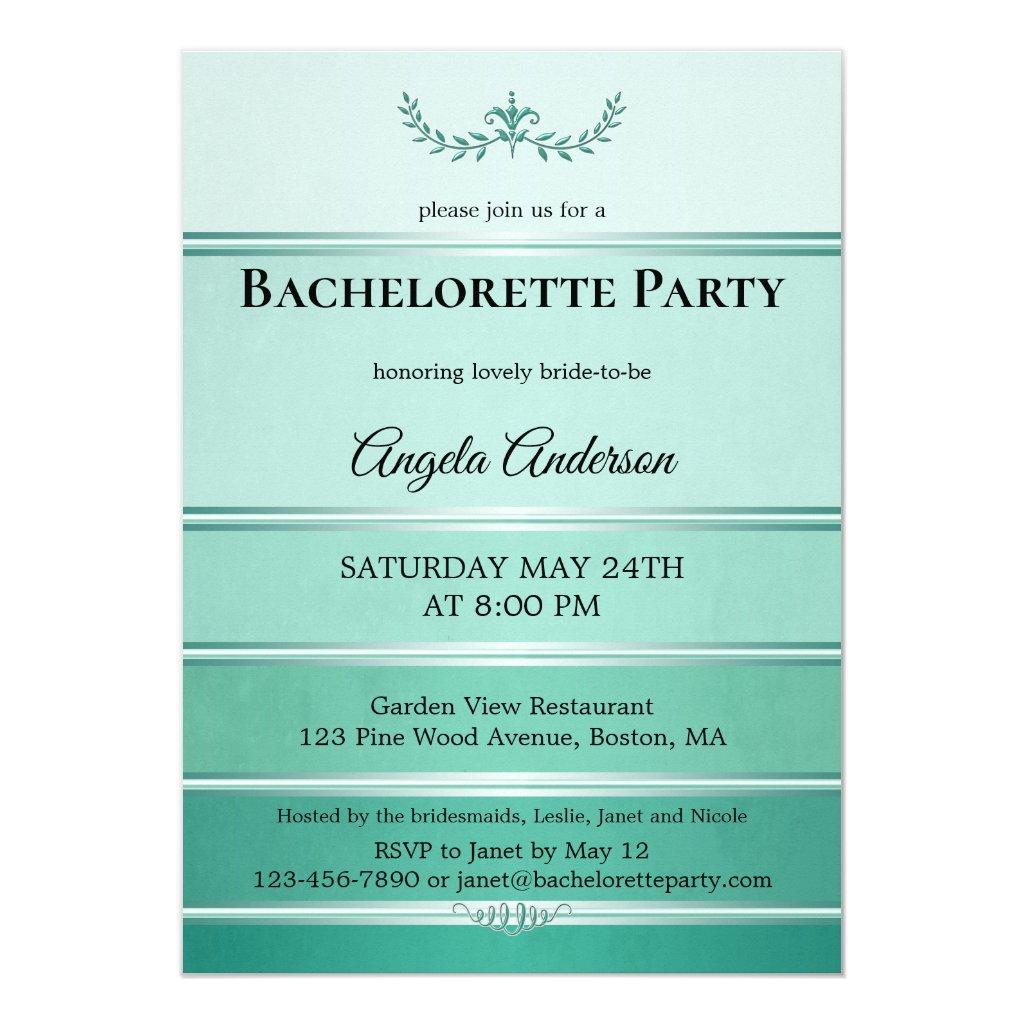 Chic Green Ton sur Ton Striped Bachelorette Invitation