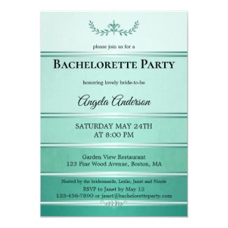 Chic Green Ton sur Ton Striped Bachelorette Invitation