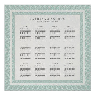 Chic Green+White Pattern Seigaiha Seating Chart