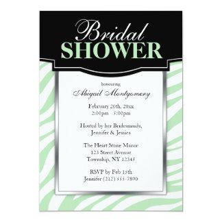 Chic Green Zebra Print Bridal Shower Invitations
